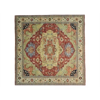 Antiqued Heriz Recreation Square Hand Knotted Rug (11'8 x 11'9)