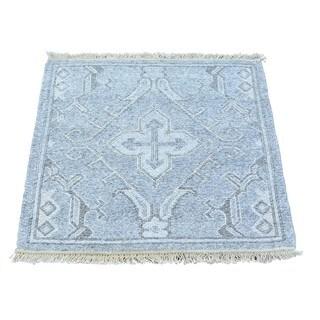Square Hand Woven Flat Weave Soumak Oriental Rug (2'1 x 2'1)