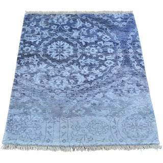 Rayon from Bamboo Silk Modern Erased Design Hand Knotted Oriental Rug (2'1 x 3')