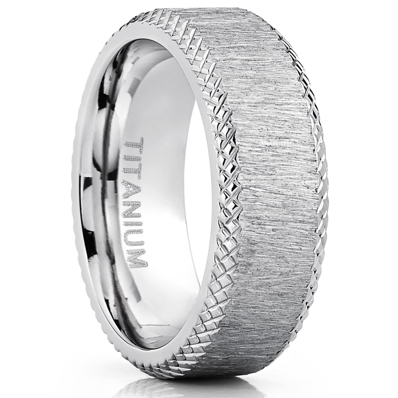 Comfort Fit Titanium Ring 9mm Flat Brushed Finished Titanium Wedding Band