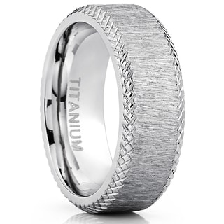 Oliveti Men's 8mm Hairline Ground Brushed Finish Titanium Comfort Fit Wedding Band