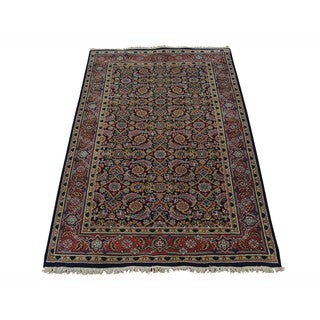 Herati 100 Percent Wool Navy Blue Hand Knotted Oriental Rug (3' x 5')