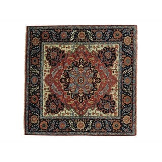Square Hand Knotted Antiqued Heriz Recreation Rug (5' x 5'1)