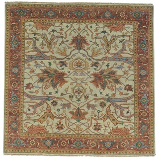 Square Antiqued Heriz Recreation Oriental Rug Hand Knotted (5'1 x 5'1)