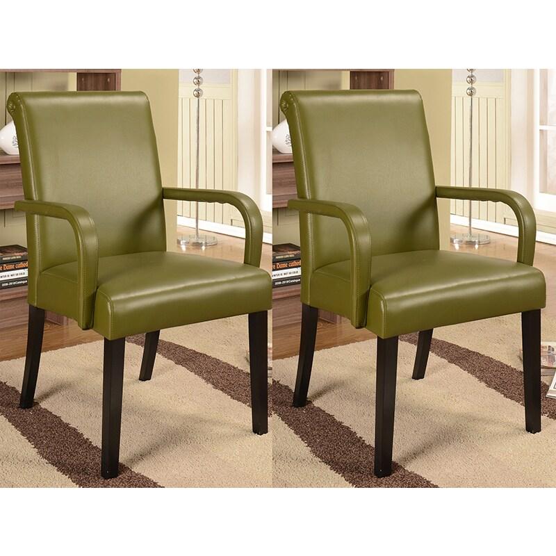 K&B AC9080 Parson Chairs (Set of 2) (AC9080), Green (Chrome)