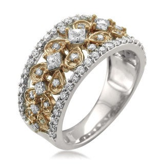 Montebello 14k Two-tone Gold 1ct TDW Princess and Round Cut Diamond Band