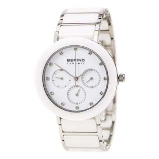 Bering Women's Chronograph Silver Tone White Ceramic Watch 11438-754