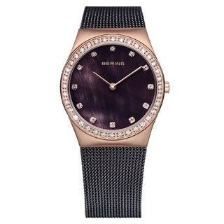 Bering Women's Brown Milanaise Mesh Rose Gold Tone Watch 12430-262