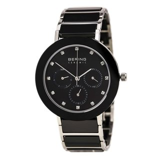 Bering Women's Chronograph Silver Tone Black Ceramic Watch 11438-742