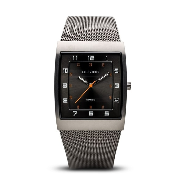 BERING Titanium Slim Watch With Hardened Mineral Crystal & Grey Stainless Steel Strap