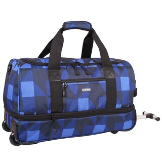 J World Block Navy Stadium 21-inch Carry-on Rolling Duffel Bag