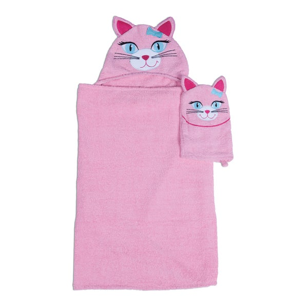 Kitty Hooded Bath Wrap for Tub Time for Tots