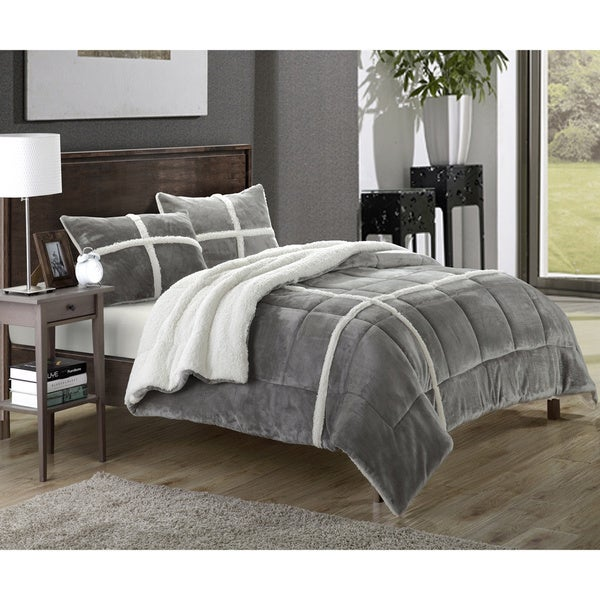 Chiron Sherpa Lined Plush Microsuede 3 Piece Comforter Set
