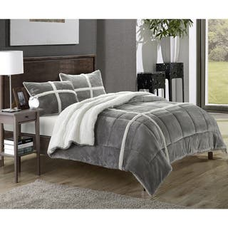 Chiron Sherpa Lined Plush Microsuede 3-piece Comforter Set (Option: Brown)|https://ak1.ostkcdn.com/images/products/10511453/P17582844.jpg?impolicy=medium