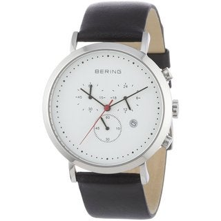 Bering Men's Classic Chronograph Black Calfskin Leather Watch