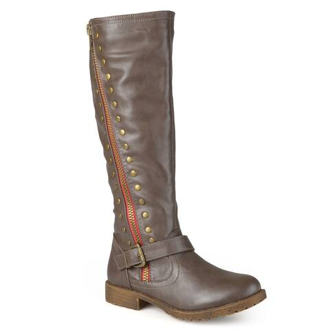 Journee Collection Womens Tilt Regular and Wide Calf Studded Zipper Riding Boots