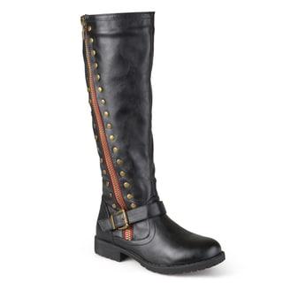 Journee Collection Women's 'Tilt' Regular and Wide Calf Studded Zipper Riding Boots
