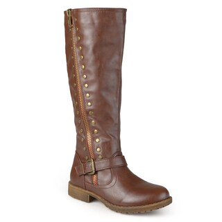 Journee Collection Women's 'Tilt' Regular and Wide Calf Studded Zipper Riding Boots (More options available)