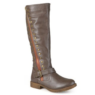 Journee Collection Women's 'Tilt' Regular and Wide Calf Studded Zipper Riding Boots