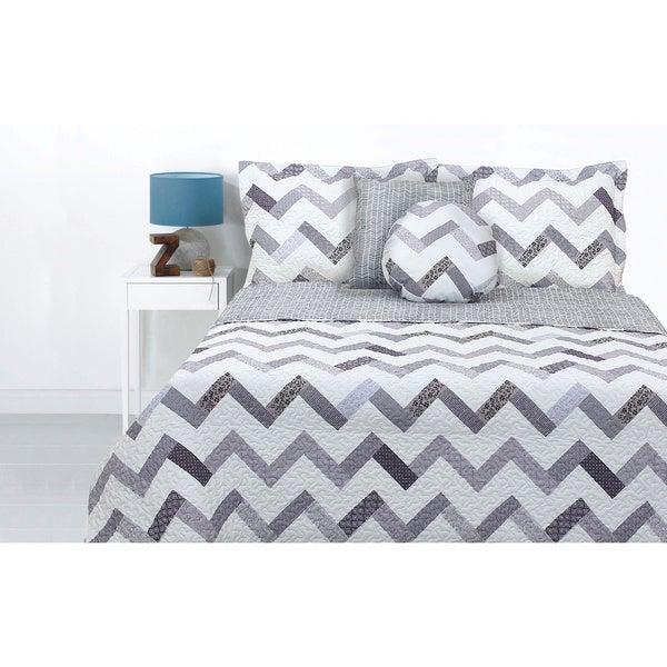 Lauren Taylor Xico 5-piece Quilt Set Grey