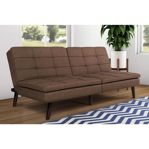 Avenue Greene Wesley Brown Linen/Foam Pillow-top Futon with Wood Legs