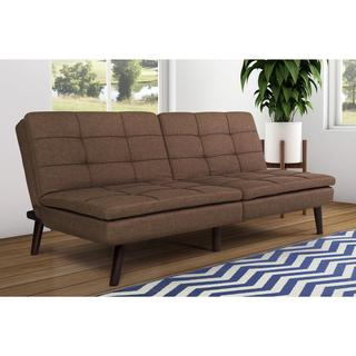 Avenue Greene Wesley Brown Linen/Foam Pillow-top Futon with Wood Legs