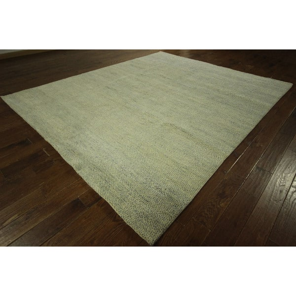 Plain Hand Knotted Rabbat Moroccan Wool Area Rug 8 X