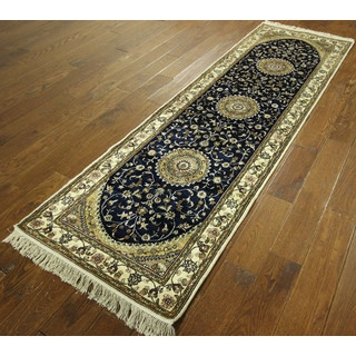 New Runner Midnight Blue Silk Kashan Hand-knotted Wool Area Rug (3' x 8')