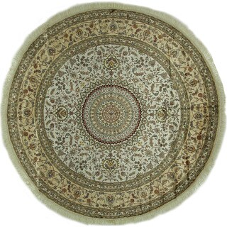 New Ivory Gumbad Deisgn Hand-knotted Silk Round Kashan Area Rug (9', 9' x 9')