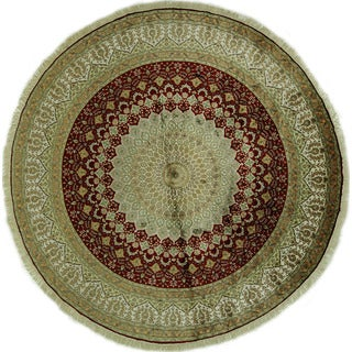 New Rosette Pattern Round Silk Red Kashan Hand-knotted Area Rug (10', 10' x 10')