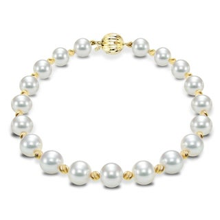 DaVonna 14k Yellow Gold Cultured Pearl and Beads Bracelet (7-8 mm)