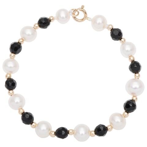 DaVonna 14k Yellow Gold White Pearl and Beads Children's Bracelet