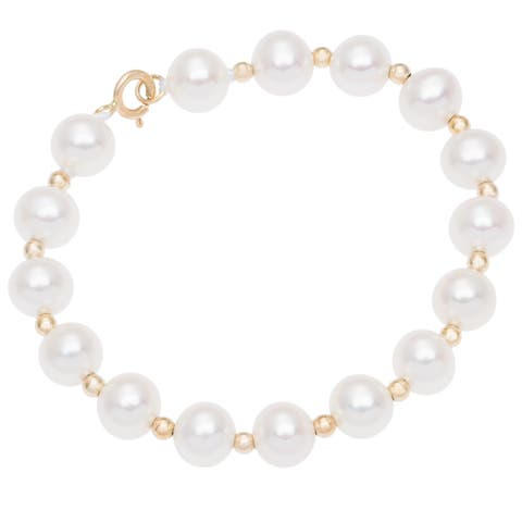 """DaVonna 14k Yellow Gold Freshwater Pearl and Beads Children's Bracelet 4.75"""""""