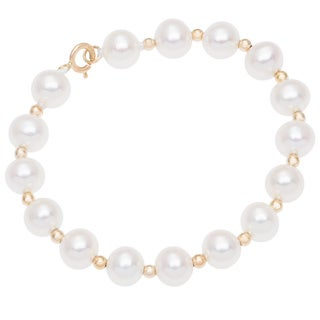 DaVonna 14k Yellow Gold Freshwater Pearl and Beads Children's Bracelet 4.75""