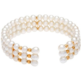DaVonna 14k Yellow Gold White Freshwater Pearl 3-row Cuff Bracelet