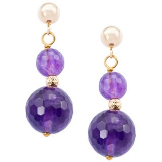 DaVonna 14k Yellow Gold Purple Amethyst and Bead Dangle Earring