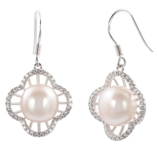 DaVonna Sterling Silver Cultured Pearl and Cubic Zirconia Flower Dangle Earring (10-11mm)