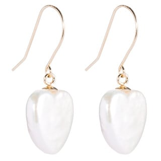 DaVonna 14k Yellow Gold White Heart Shaped Pearl Dangle Earrings (11-12mm)