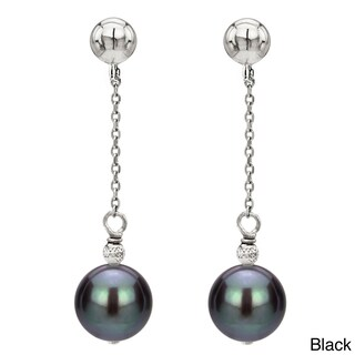 DaVonna 14k White Gold Freshwater Pearl and Bead Dangle Earring (8-9mm)