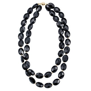 DaVonna 14k Yellow Gold Flat Oval Black Onyx and Beads 2-row Necklace