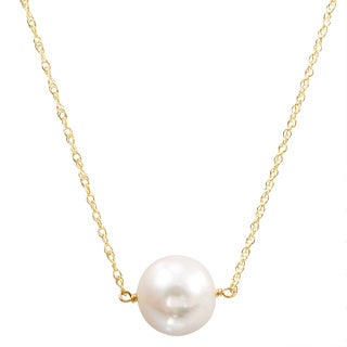 DaVonna 14k Yellow Gold White Freshwater Pearl Chain Necklace (11-12 mm)