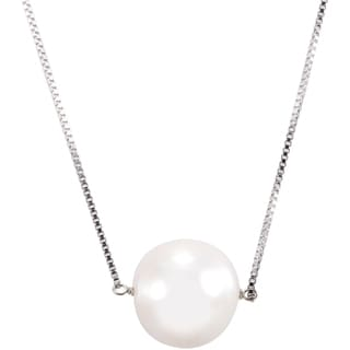 DaVonna Sterling Silver White Freshwater Pearl Chain Necklace (11-12 mm)