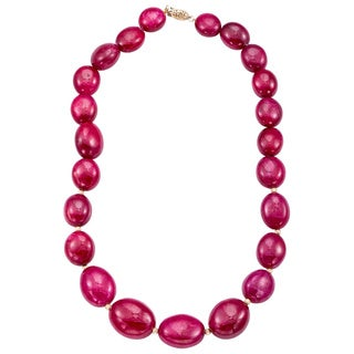 DaVonna 14k Yellow Gold Red Ruby and Gold Beads Graduated Necklace