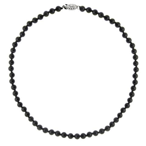 """DaVonna Sterling Silver 6mm Polished Black Onyx Beads Necklace, 18"""""""