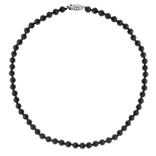 DaVonna Sterling Silver 6mm Polished Black Onyx Beads Necklace, 18""