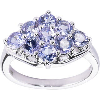 DaVonna Sterling Silver Blue Tanzanite Gemstones Size 7 Ring