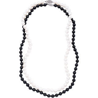 DaVonna Sterling Silver White Freshwater Pearl and Black Onyx Necklace Set