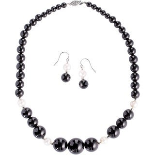 DaVonna Sterling Silver Black Onyx and White Pearl Graduated Jewelry Set (8-9mm)