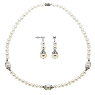 DaVonna Sterling Silver White Freshwater Pearl Necklace Earring Set