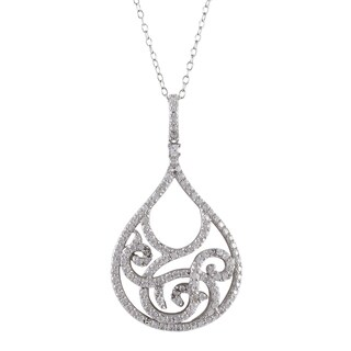 Luxiro Sterling Silver Micropave Cubic Zirconia Filigree Teardrop Pendant Necklace